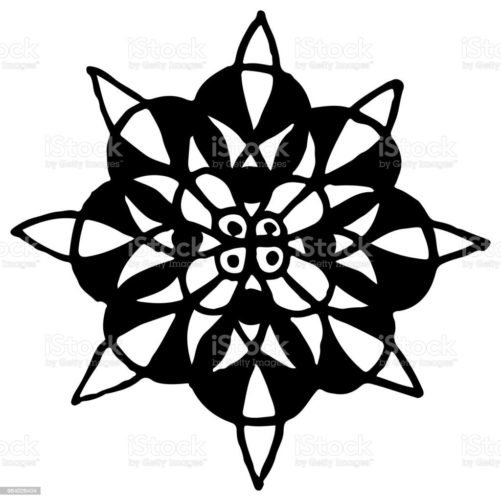 Monochrome black and white circle mandala doodle vector - Royalty-free Abstract stock vector