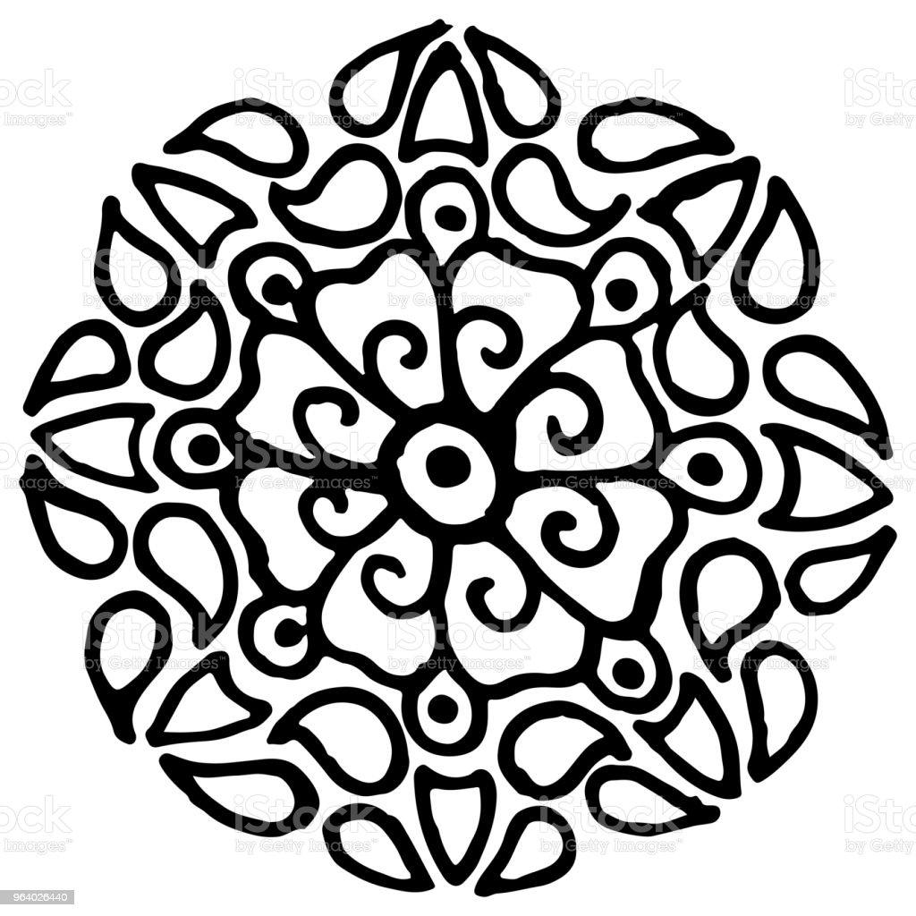 モノクロの黒と白の輪曼荼羅落書きベクトル - いたずら書きのロイヤリティフリーベクトルアート