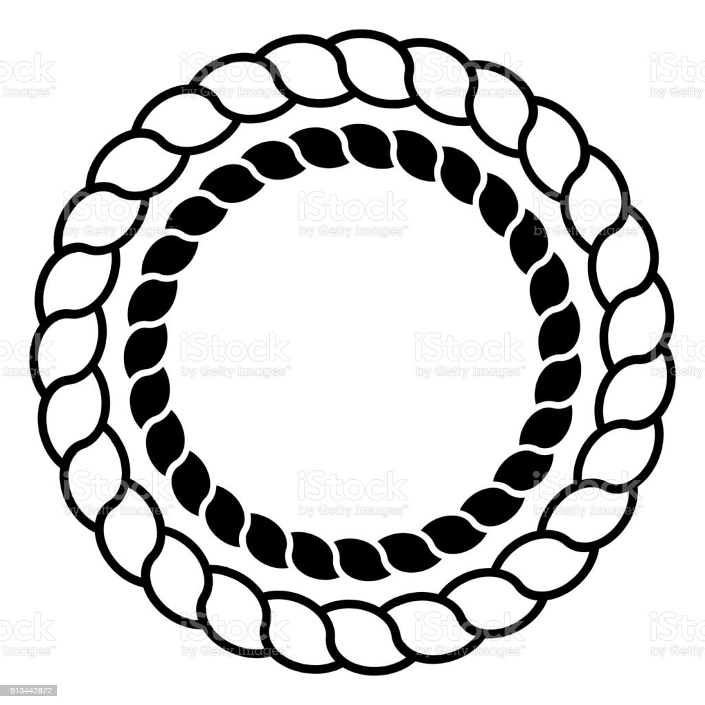 Monochrome Black And White Circle Rope Frame Line Art Isolated Set ...