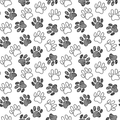 Monochrome black and white dog cat pet animal paw foot hand drawn ink sketch seamless pattern texture background vector