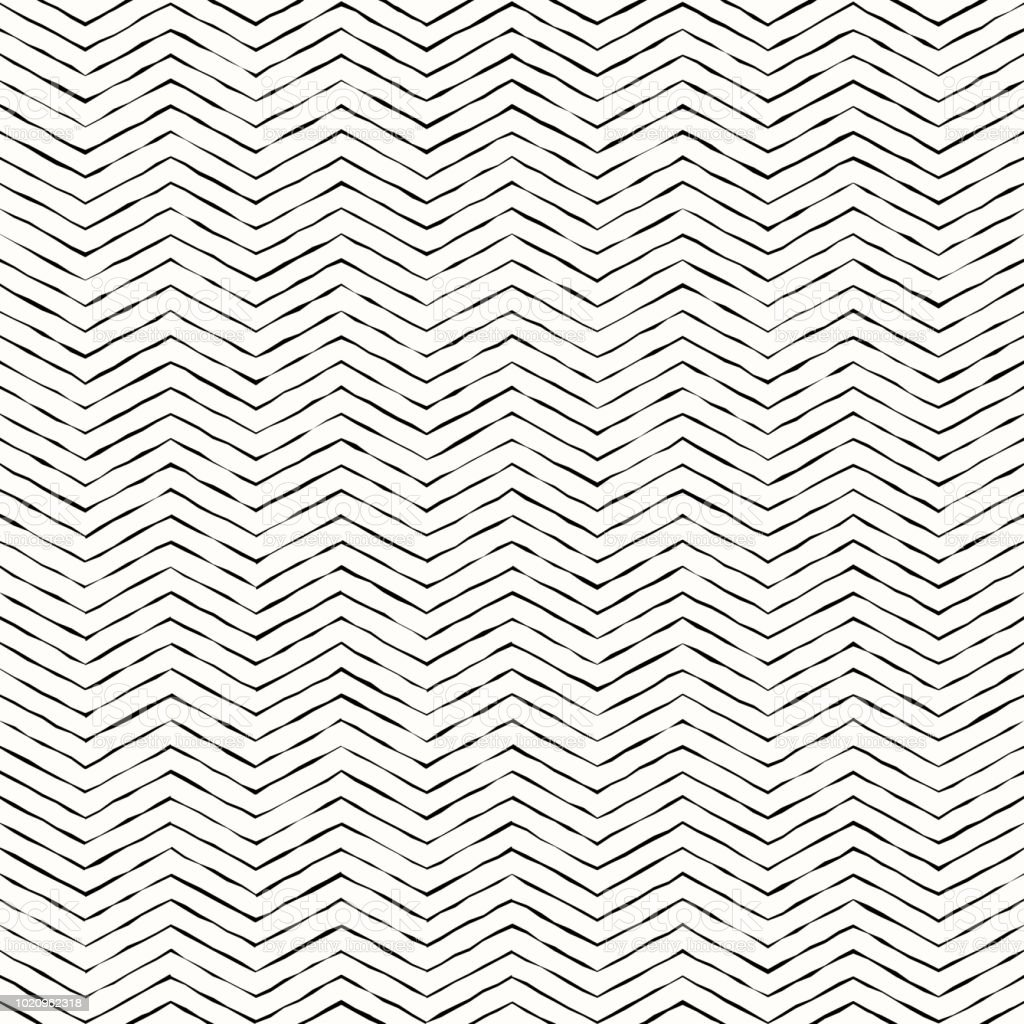 Monochrome Black And White Hand Drawing Zigzag Lines