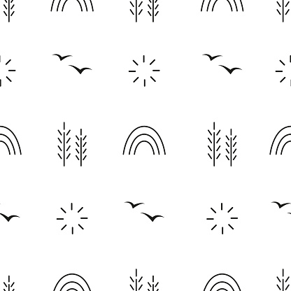 Monochrome black and white vector seamless pattern with spring or summer graphic elements. Texture for fabric and other types of design.