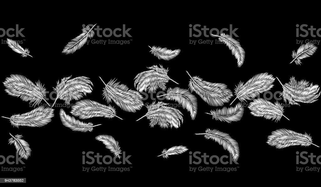 Monochrome Black White Feathers Embroidery Seamless Border