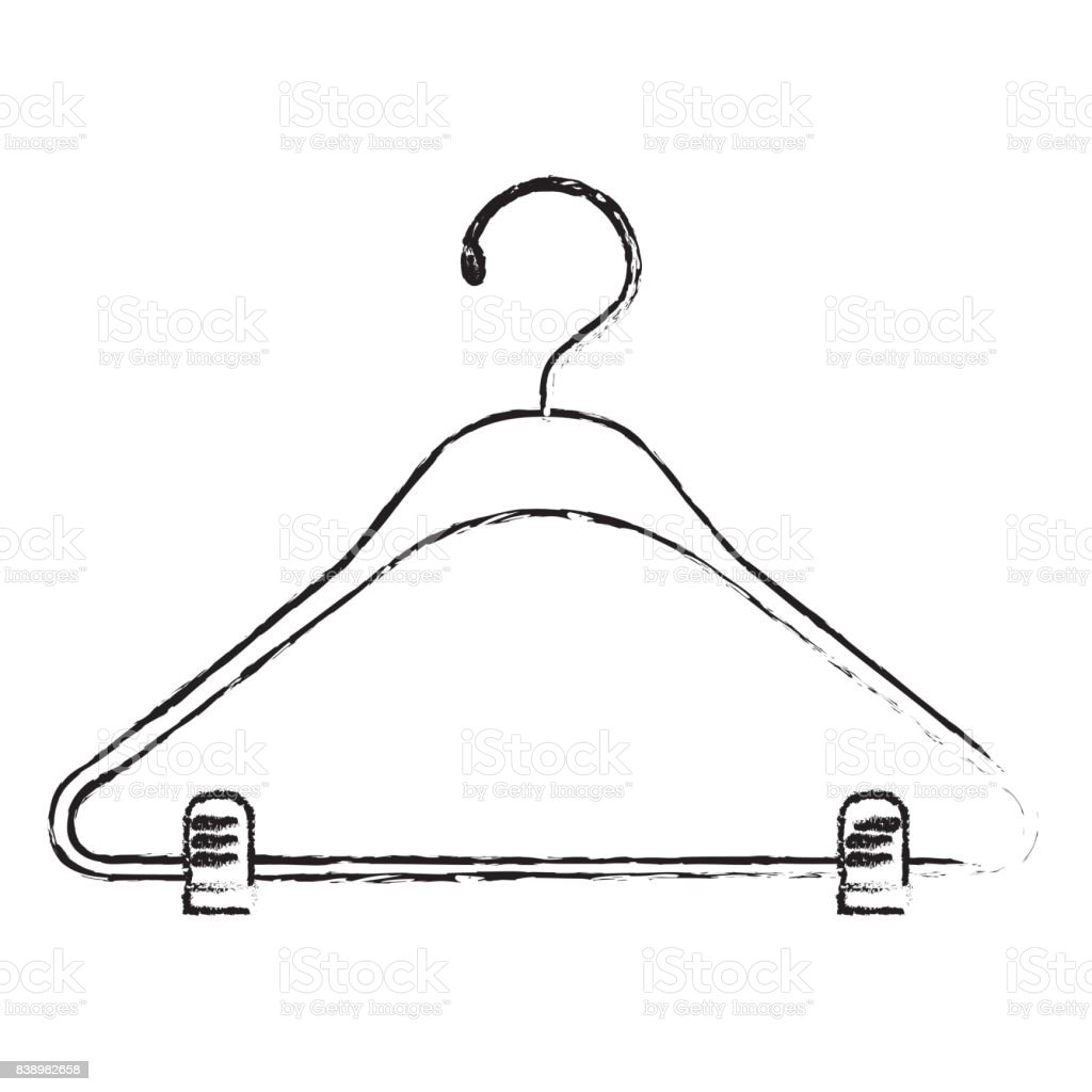 monochrome blurred silhouette of clothes hanger vector art illustration