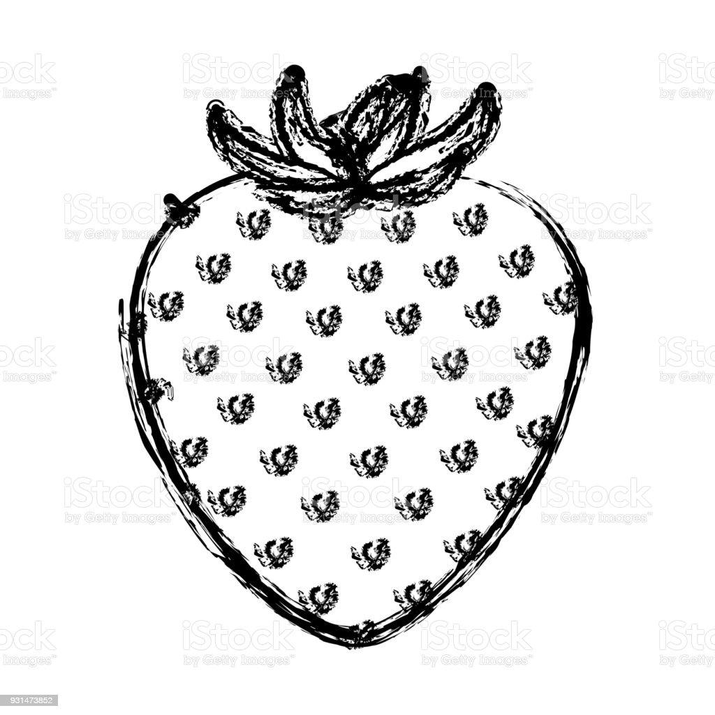 イチゴ果実のモノクロのぼやけたシルエット みずみずしいのベクター