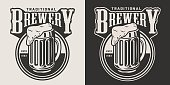 Monochrome brewery round emblem with mug of beer in vintage style isolated vector illustration