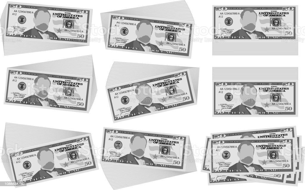 Monochrome Bunch of 50 US dollar banknote set vector art illustration