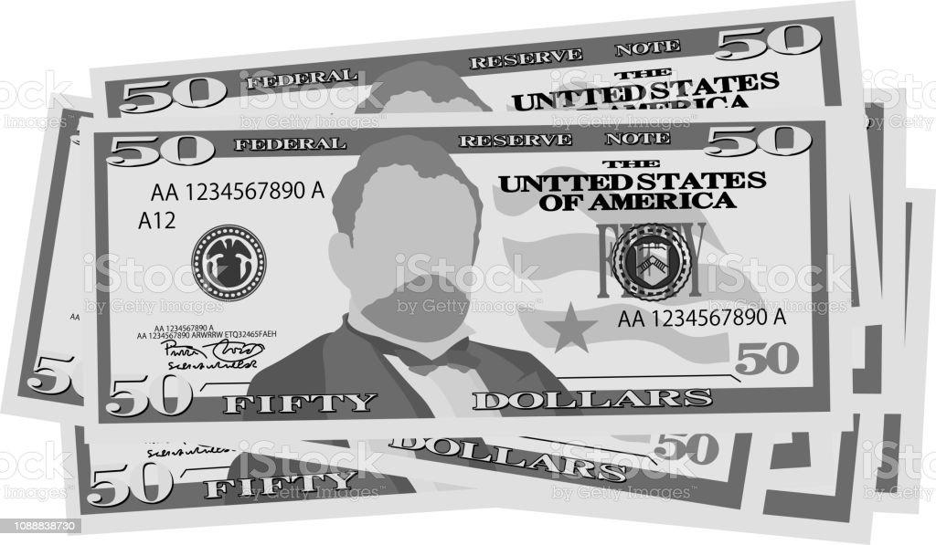 Monochrome Bunch of 50 US dollar banknote vector art illustration