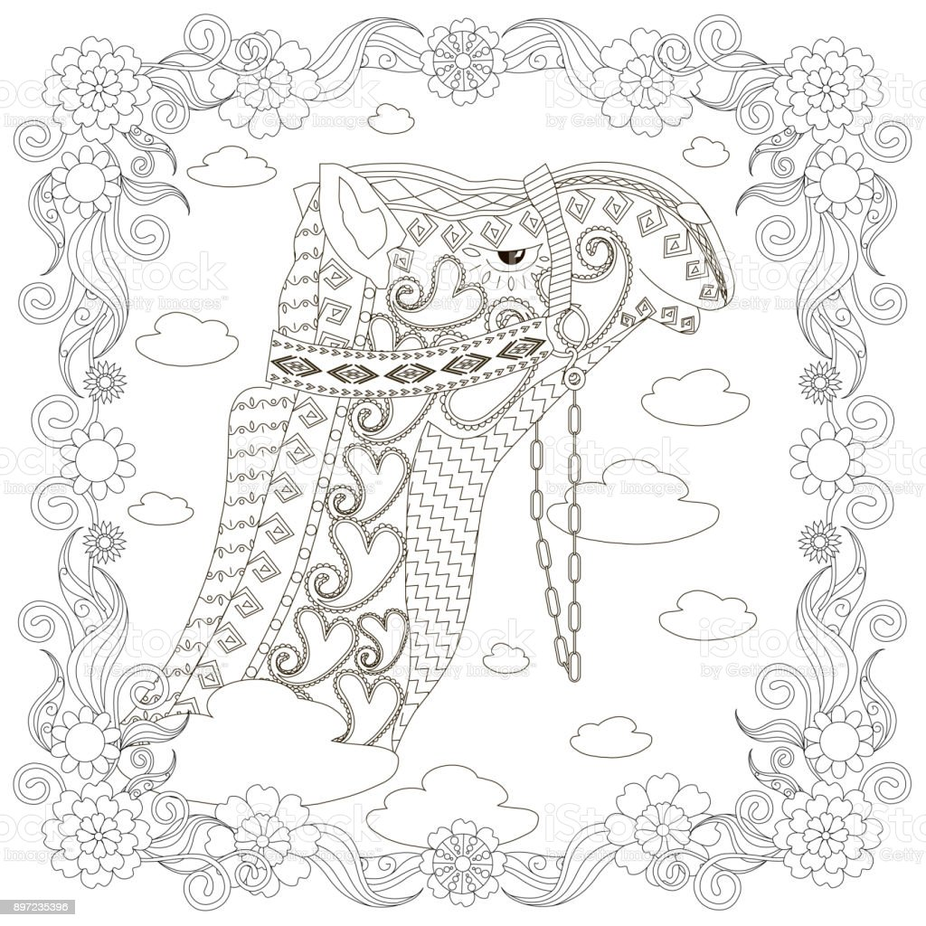 Monochrome Camel Head In Flowers Frame Coloring Page Antistress ...