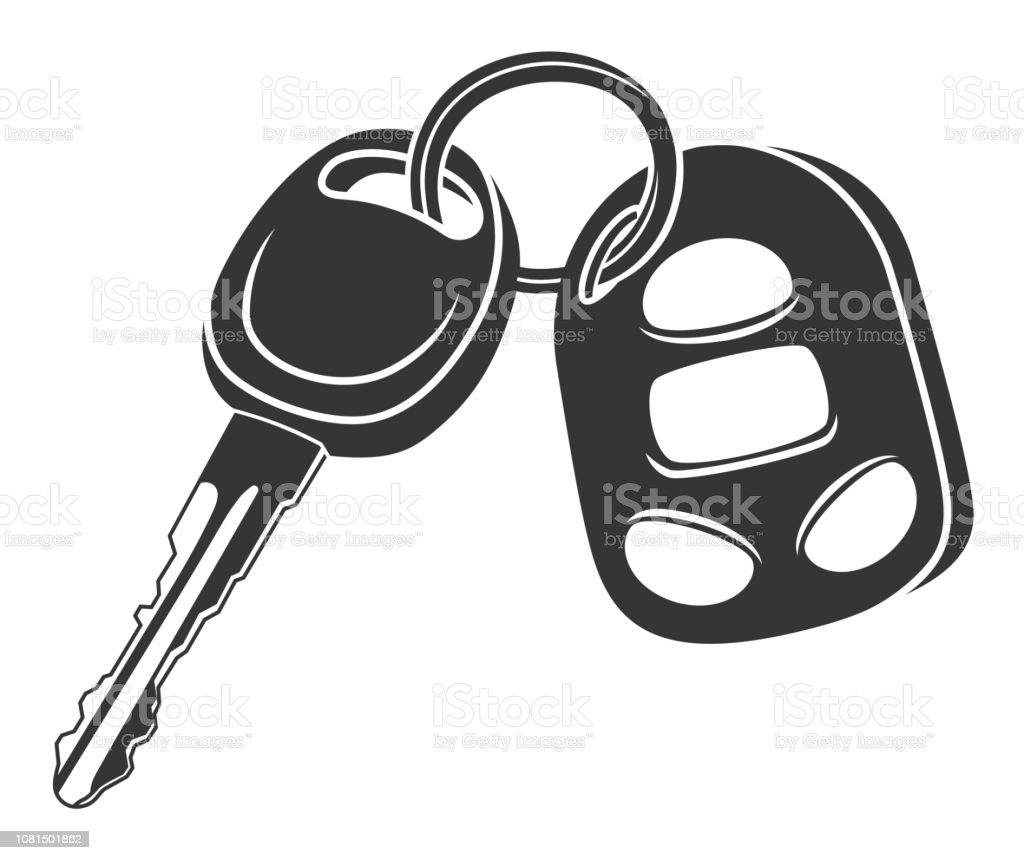 Monochrome Car Key Stock Illustration - Download Image Now ...