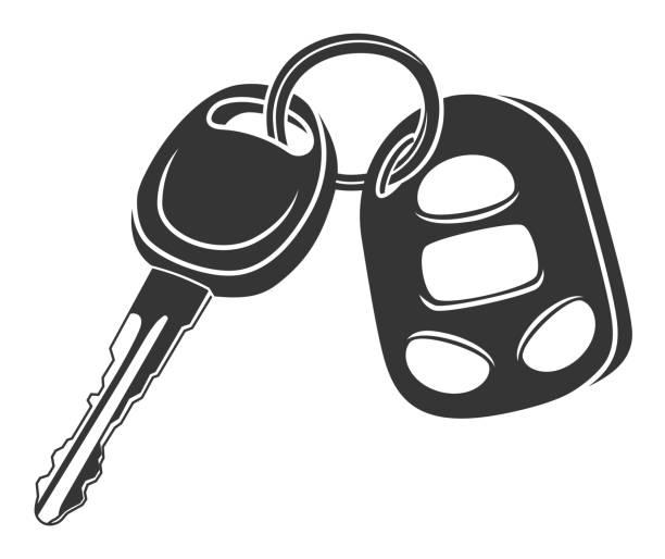 Monochrome car key Monochrome car key and alarm key fob isolated on white background car key stock illustrations