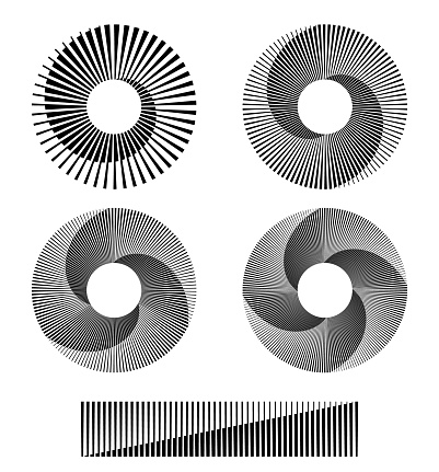 monochrome circle form with halftone lines and transitions