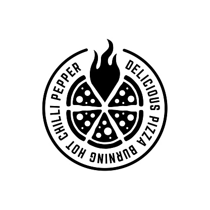 Monochrome circle pizza logo with flame and text around
