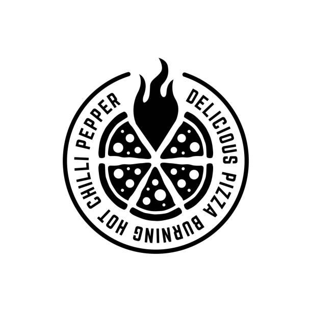 illustrazioni stock, clip art, cartoni animati e icone di tendenza di logo pizza monocromatico con fiamma e testo intorno - pizza