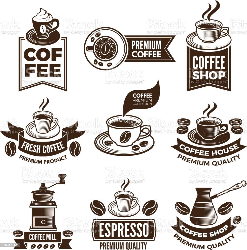 レトロなスタイルでモノクロ コーヒー ラベルベクター イラストをあなた