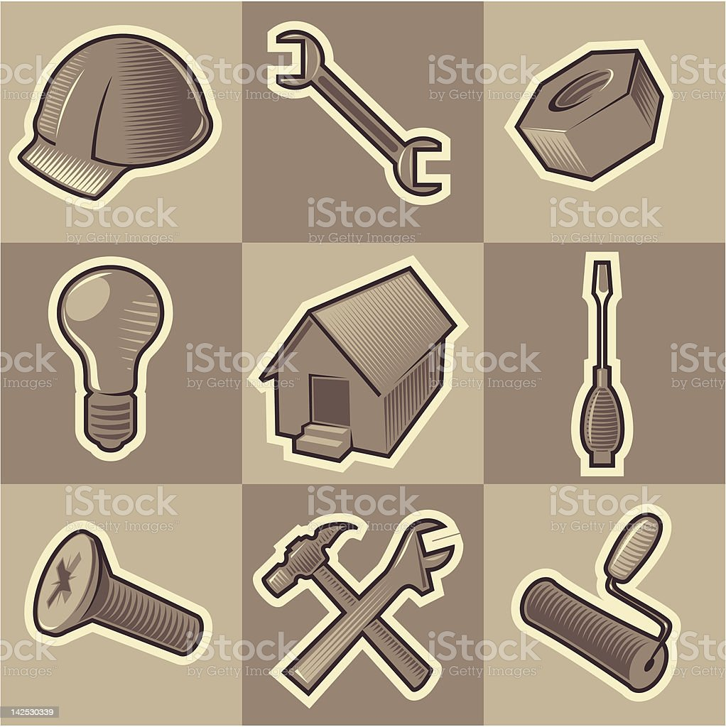 Monochrome construct icons royalty-free stock vector art