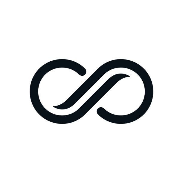 Monochrome curvy infinity symbol Infinity symbol on white background. Lap streaked curvy letters view. alphabet symbols stock illustrations
