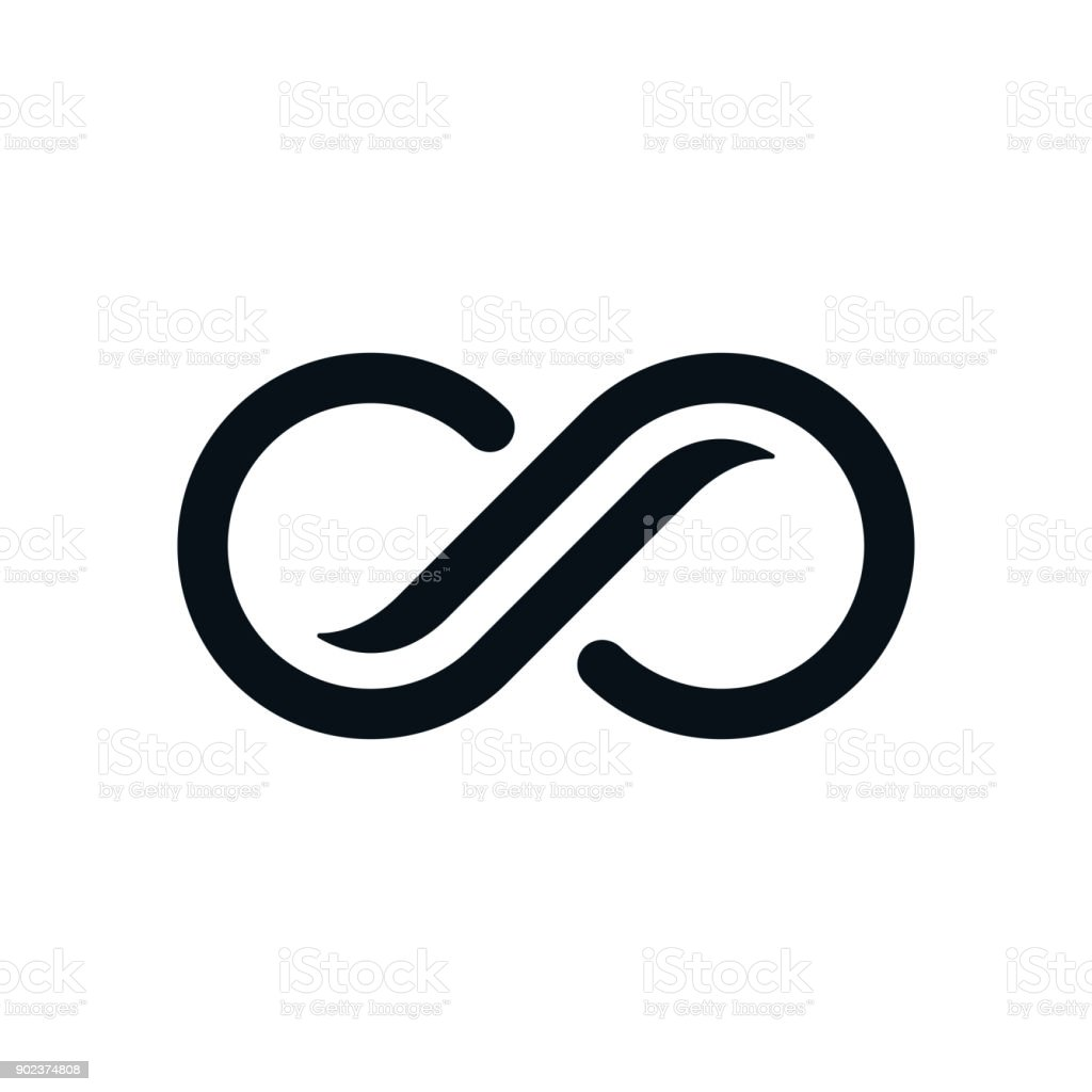 Monochrome curvy infinity symbol vector art illustration