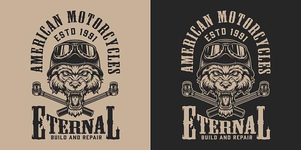 Monochrome custom motorcycle service print