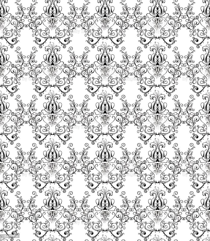 monochrome damask wallpaper royalty-free stock vector art