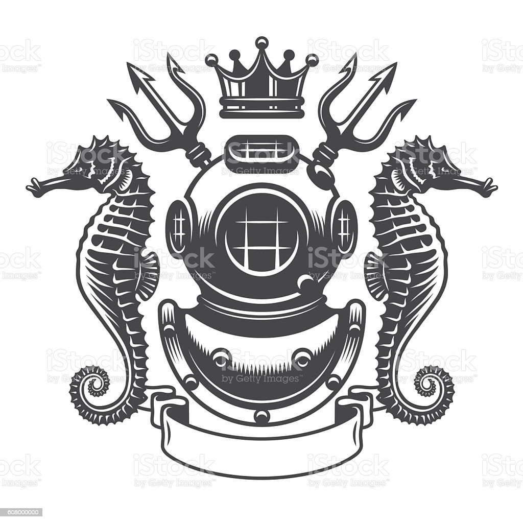 monochrome diving label emblem vector art illustration