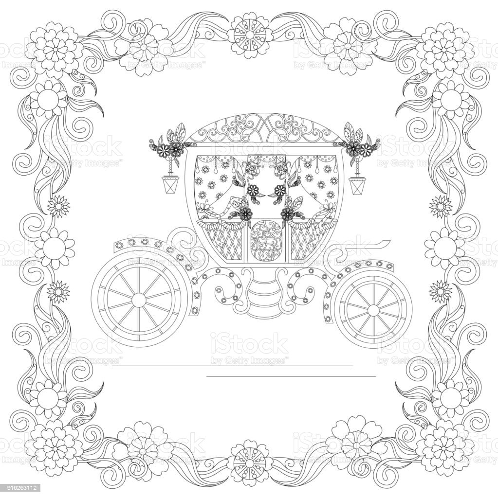 Monochrome doodle hand drawn carriage in floral frame. Anti stress vector art illustration