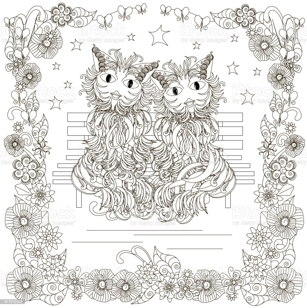 Monochrome doodle hand drawn cats pair on bench, stars, flowers frame vector art illustration