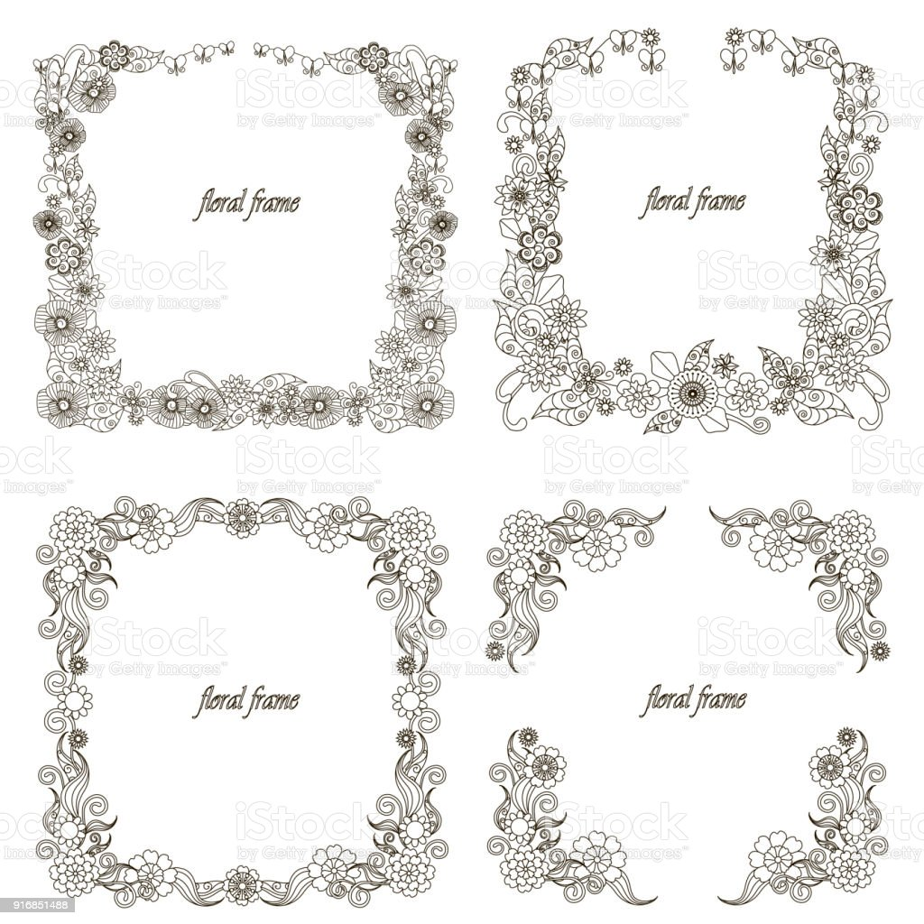 Monochrome doodle hand drawn floral frame set. Anti stress stock vector vector art illustration
