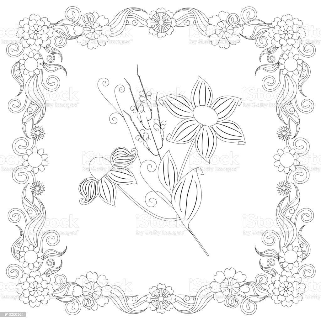 Monochrome doodle hand drawn flowers in frame vector art illustration
