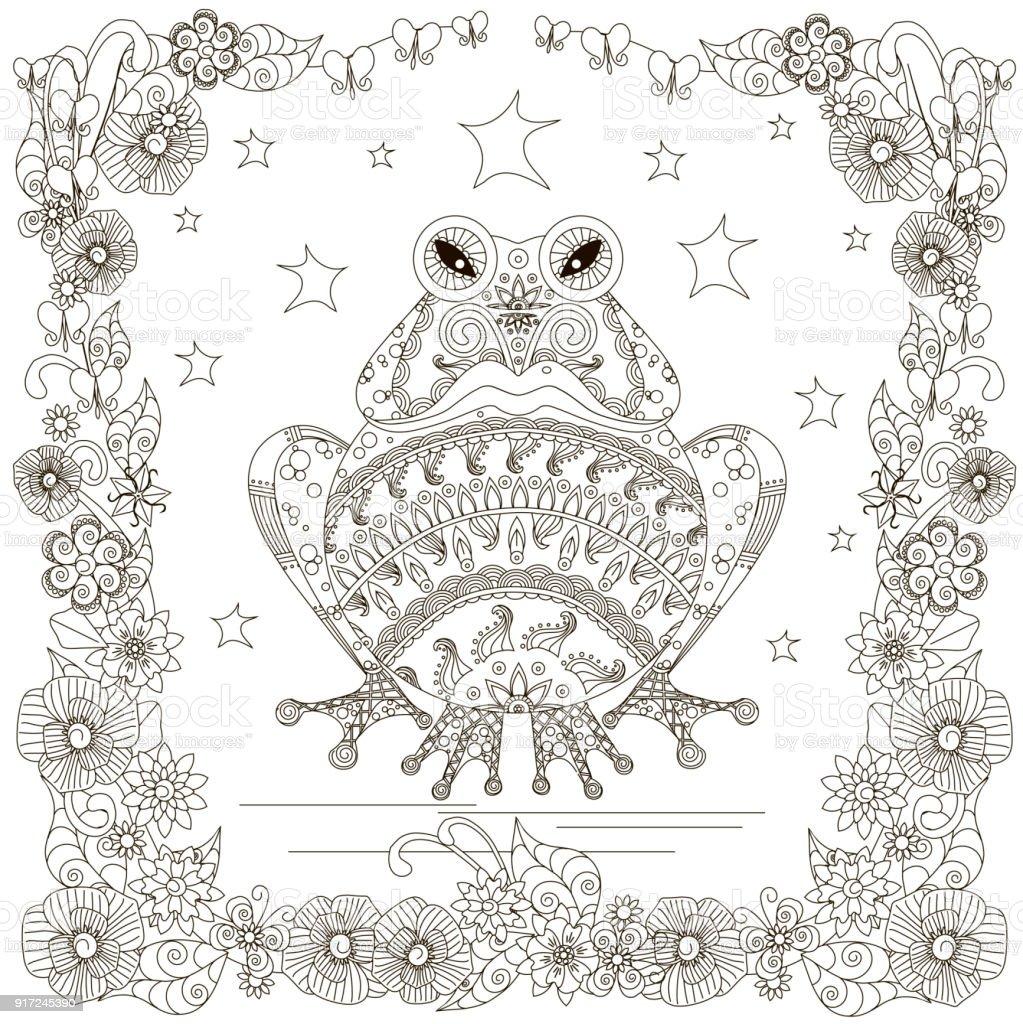 Monochrome doodle hand drawn frog, stars flowers frame vector art illustration