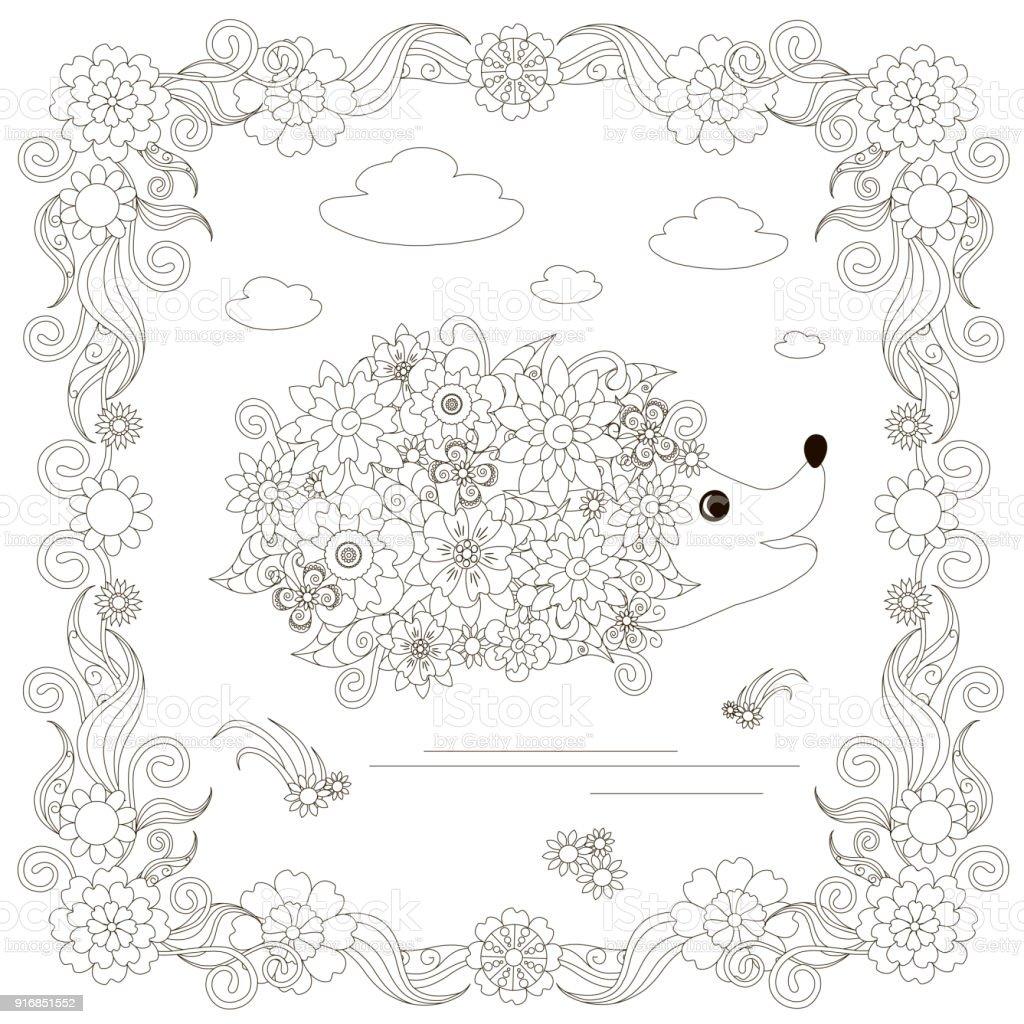 Monochrome doodle hand drawn hedgehog, clouds, flowers, frame. Anti stress stock vector vector art illustration