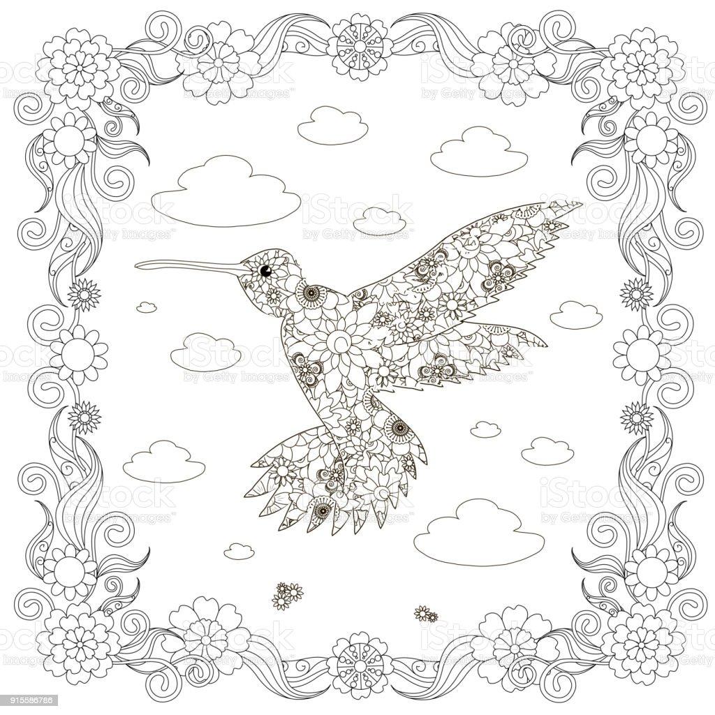 Monochrome doodle hand drawn  hummingbird, clouds, flowers, frame. Anti stress stock vector art illustration