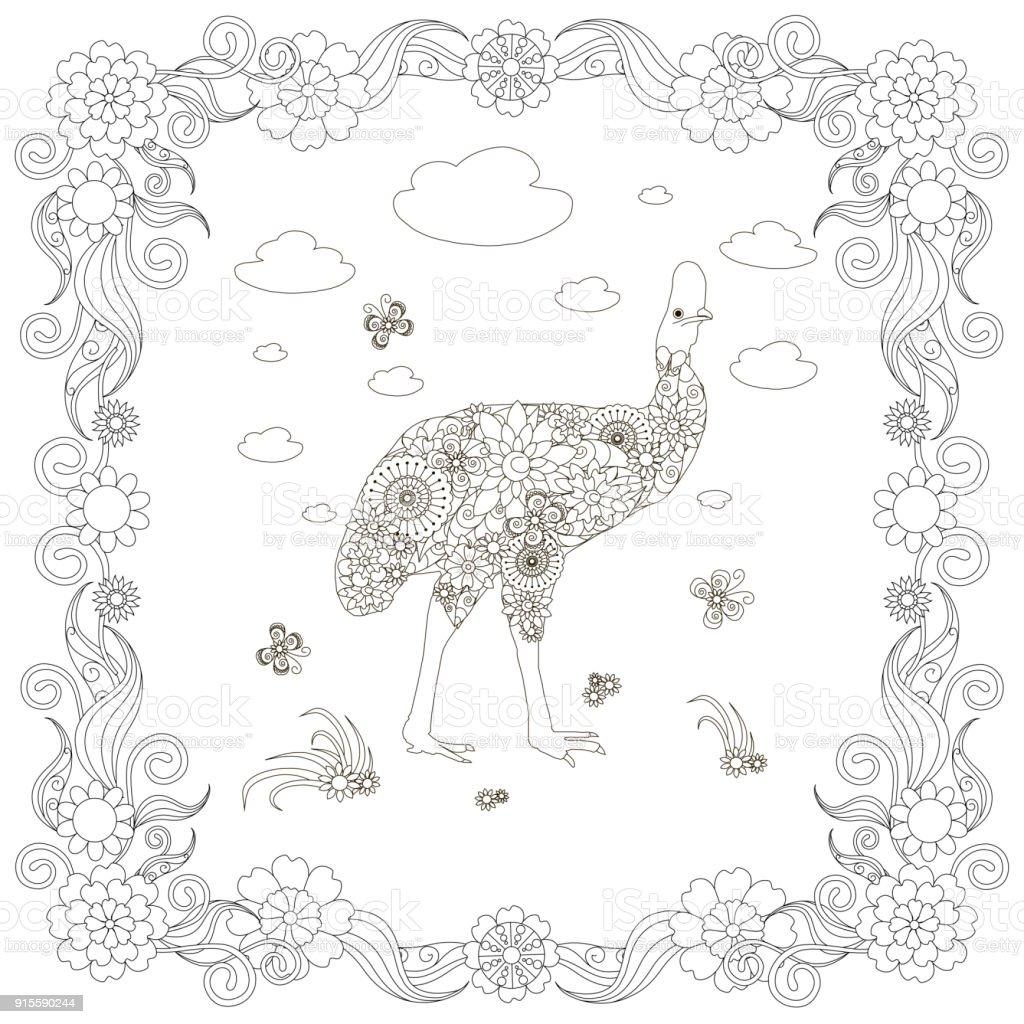 Monochrome doodle hand drawn kazarian, clouds, flowers, frame. Anti stress vector art illustration