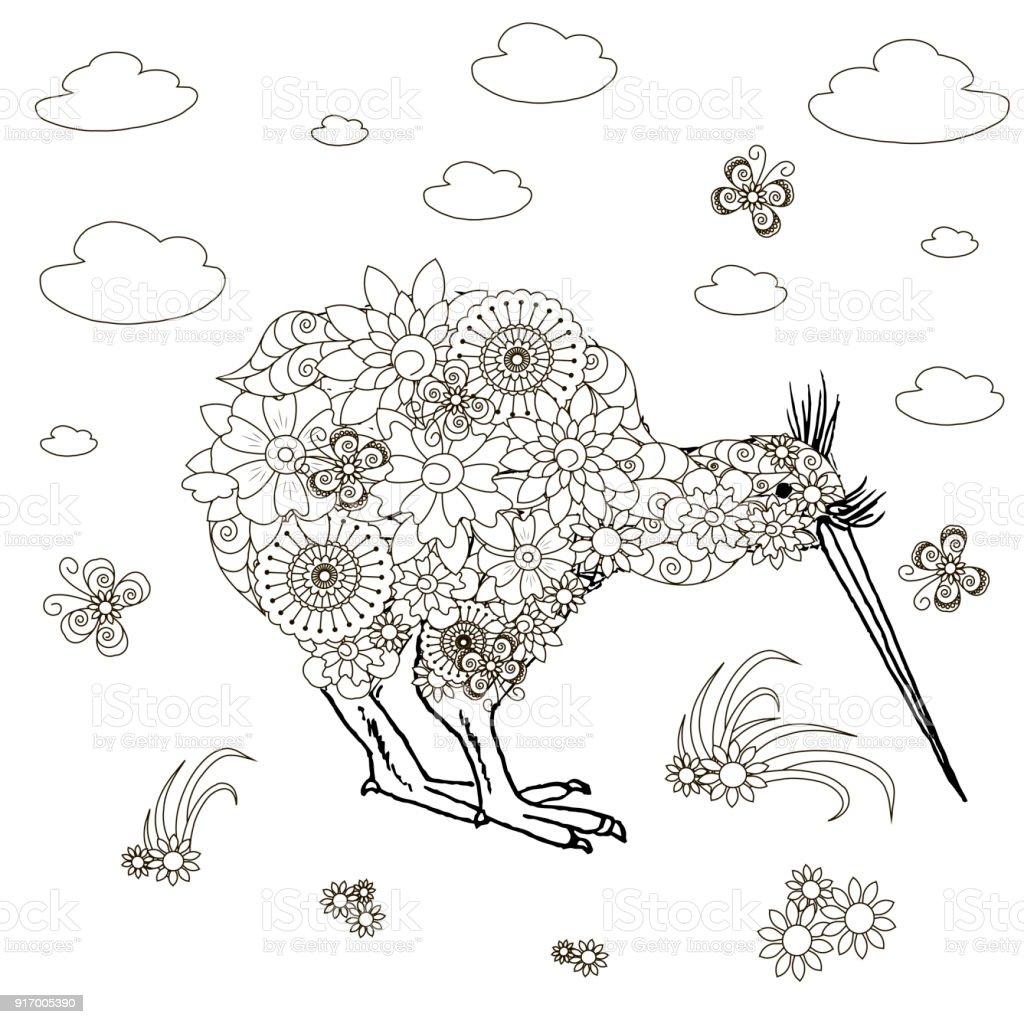 Monochrome doodle hand drawn kiwi, clouds, flowers. Anti stress stock vector vector art illustration
