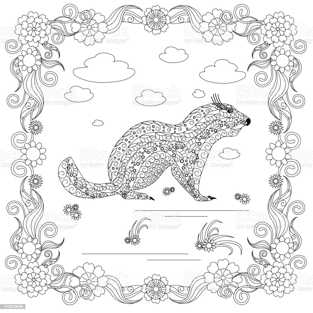 Monochrome doodle hand drawn marmot, clouds, flowers, frame. Anti stress vector art illustration