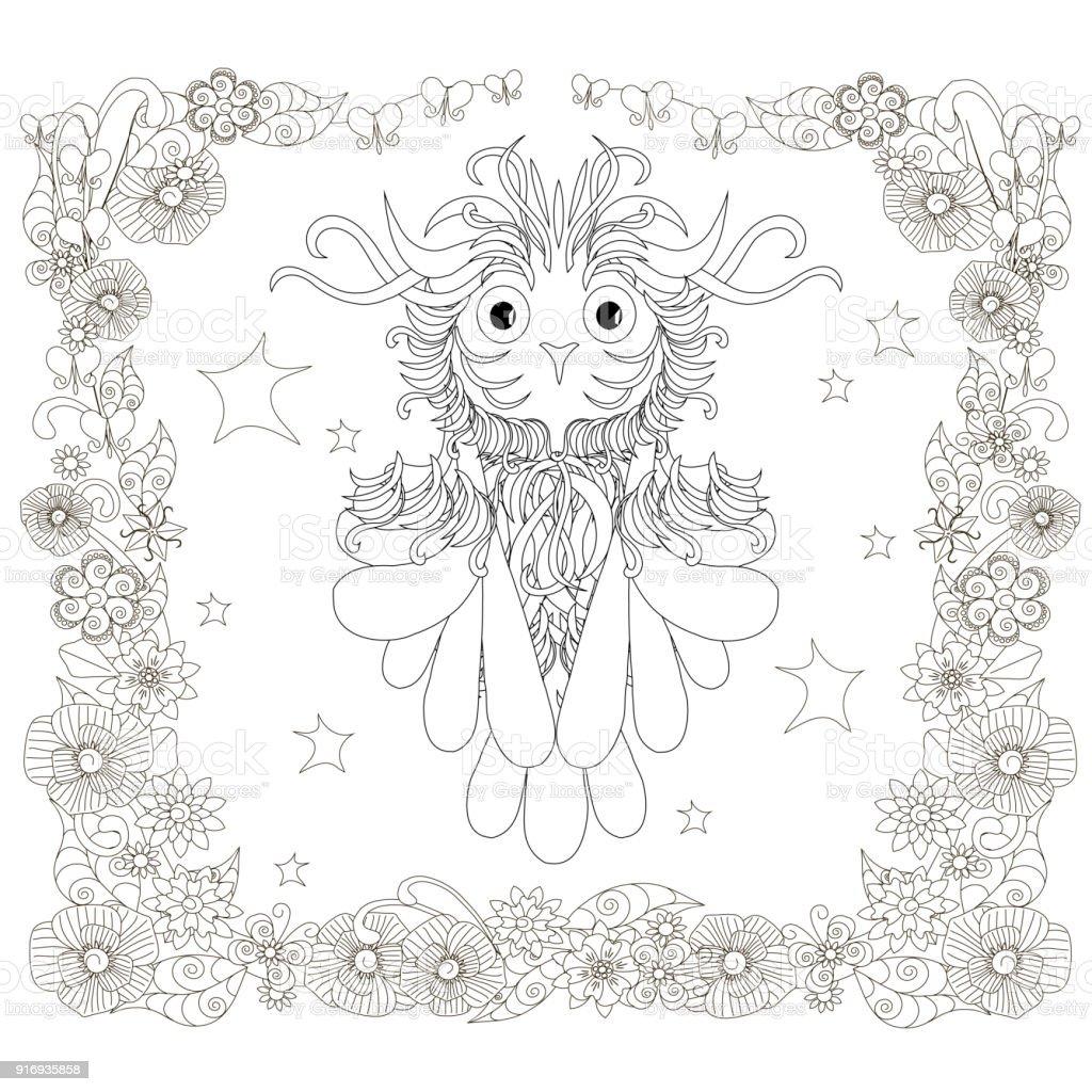 Monochrome doodle hand drawn owl, stars, floral frame. Anti stress stock vector art illustration