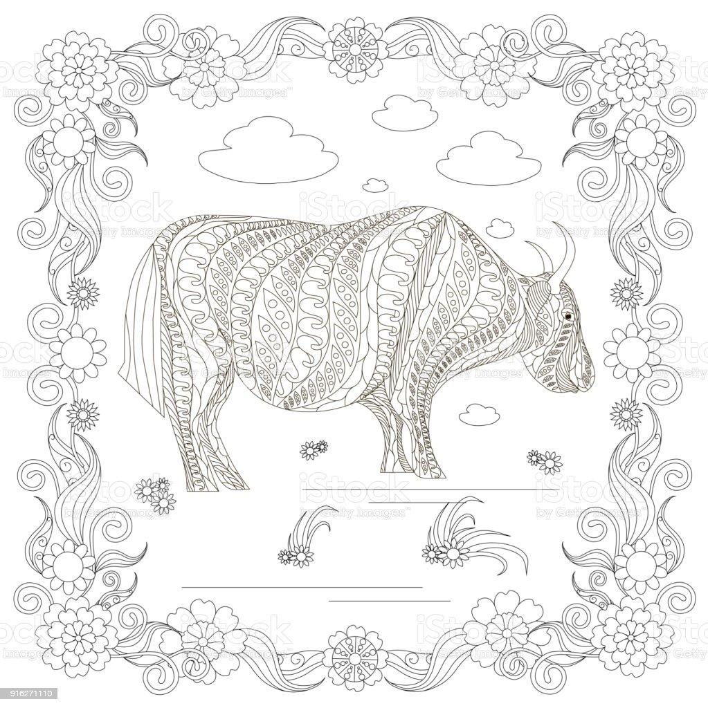 Monochrome doodle hand drawn yak, clouds, flowers, frame vector art illustration