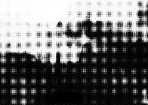 Monochrome dots style landscape pattern backgrounds