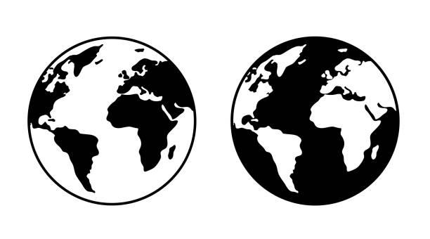 モノクロアースシンボルマークセット - 地球点のイラスト素材/クリップアート素材/マンガ素材/アイコン素材