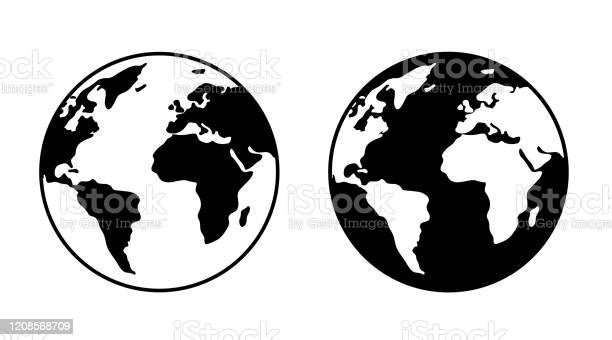Monochrome Earth Symbol Mark Set - Arte vetorial de stock e mais imagens de Clip Art