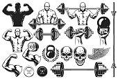 istock Monochrome elements for bodybuilding 908985874