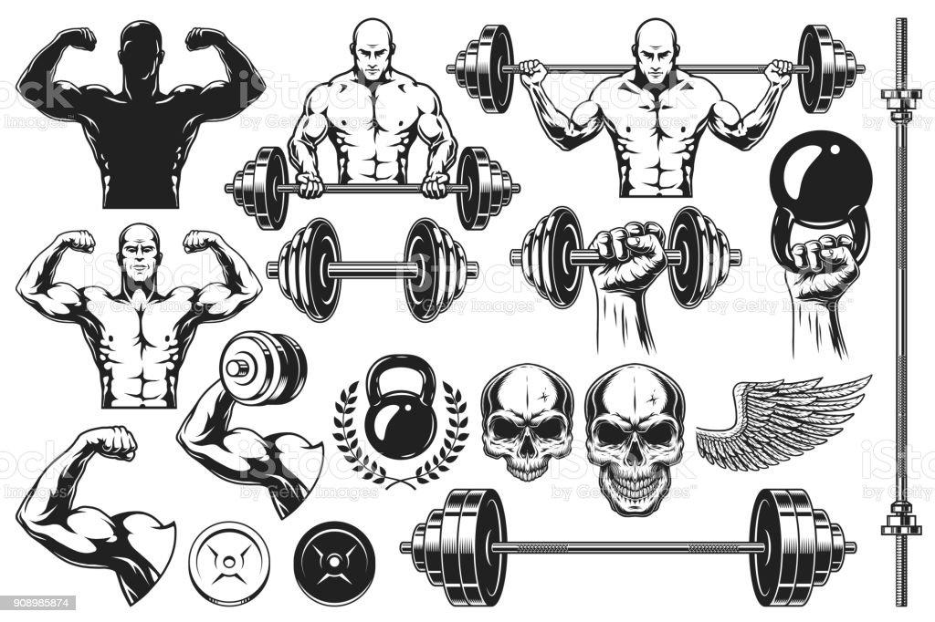 Monochrome elements for bodybuilding vector art illustration