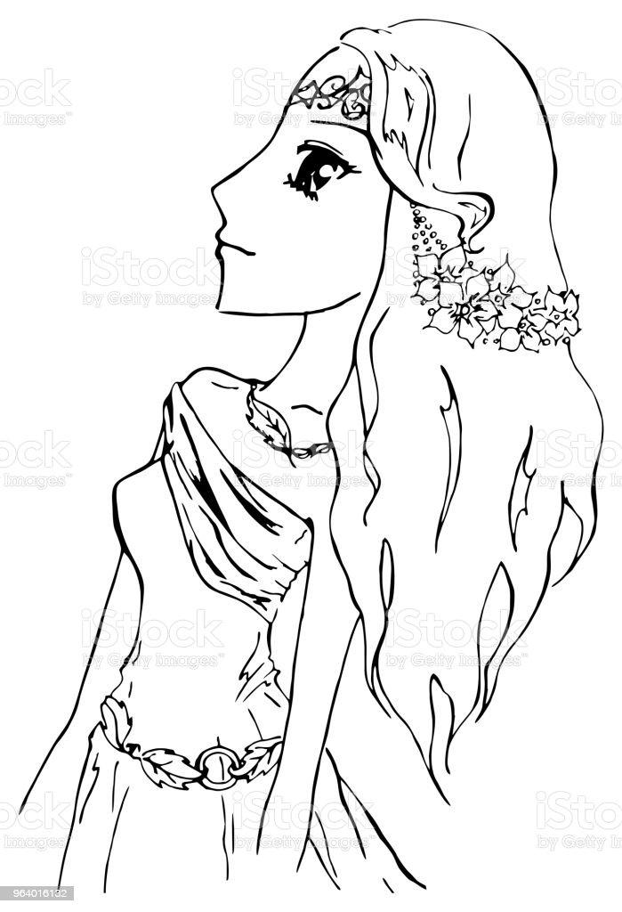 Monochrome elf girl princess anime manga cartoon sketch vector - Royalty-free Abstract stock vector
