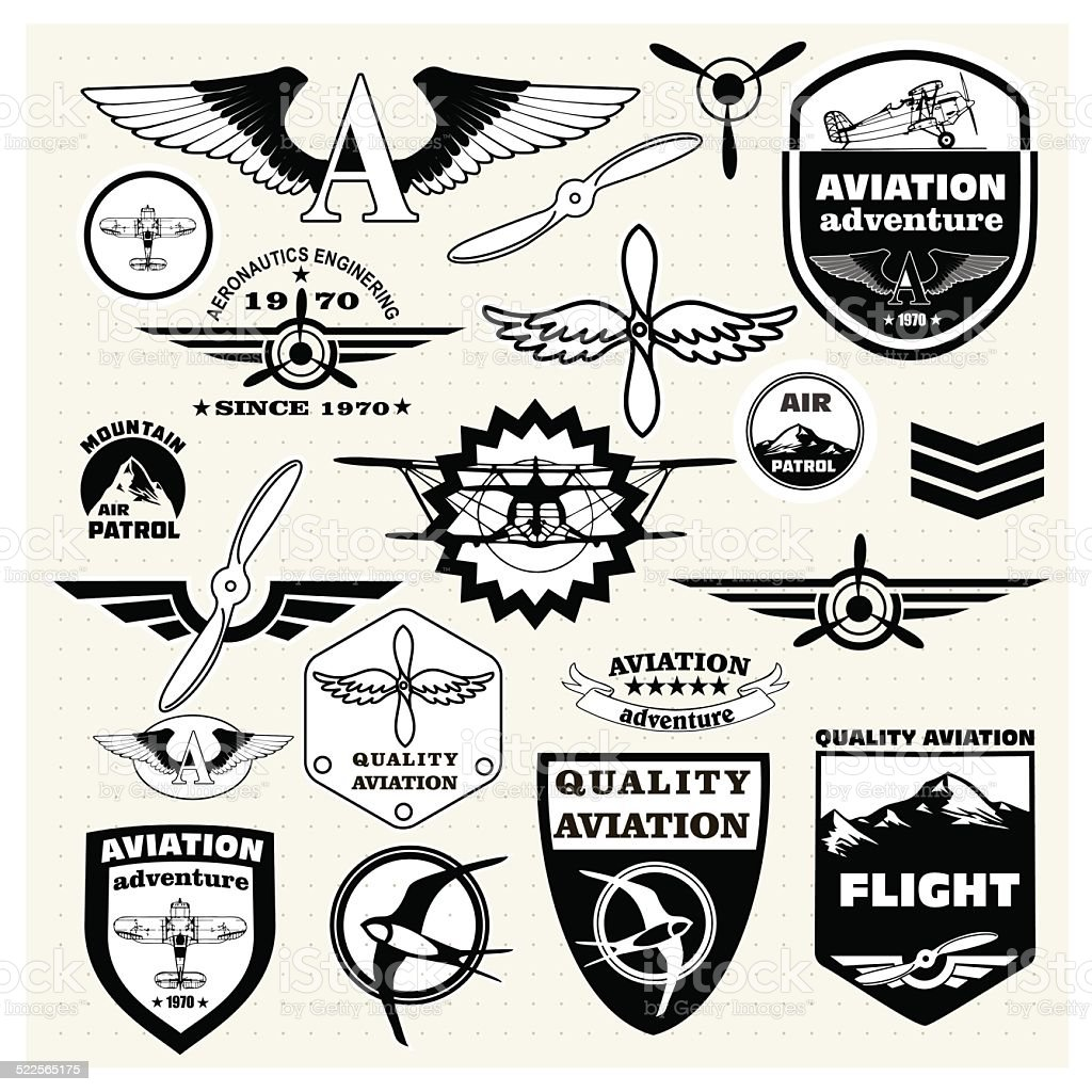 Monochrome  emblems, design elements , badges and logo Aviation vector art illustration
