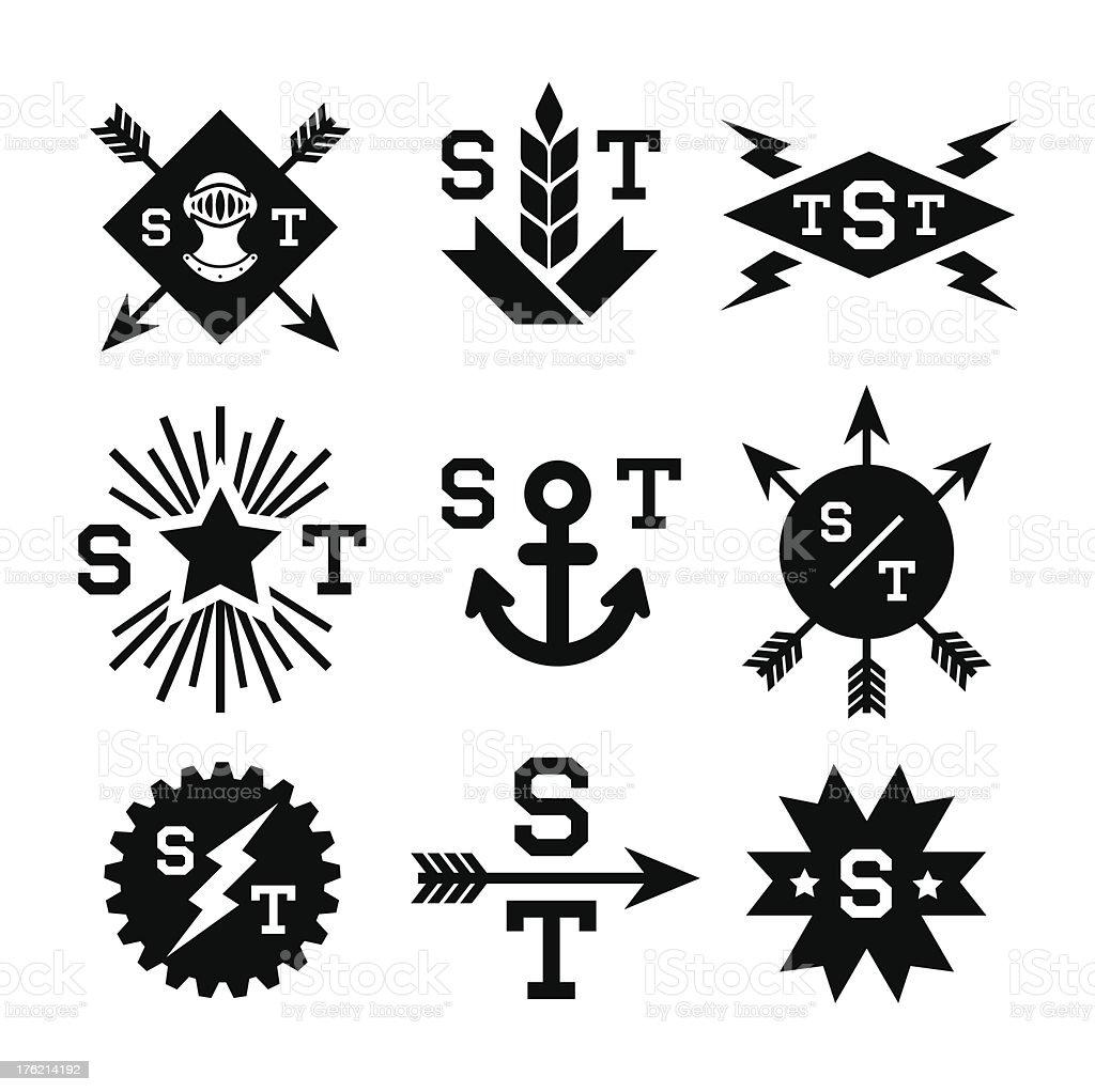 monochrome emblems royalty-free stock vector art