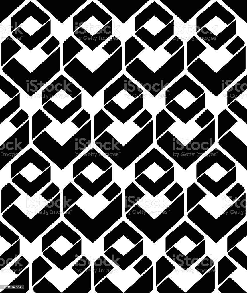 Monochrome endless vector texture with geometric figures, vector art illustration