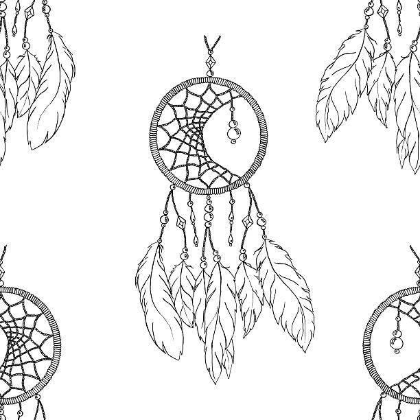 monochrome ethnic hand made feather dream catcher seamless pattern vector - perlenweben stock-grafiken, -clipart, -cartoons und -symbole