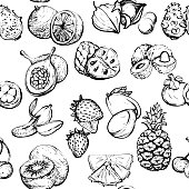Monochrome exotic summer seamless pattern with fruit, Healthy food vector illustration