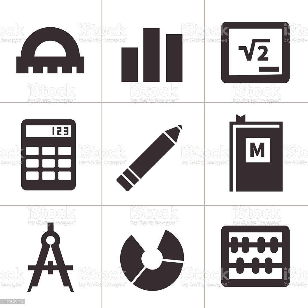 Monochrome flat maths icons vector art illustration
