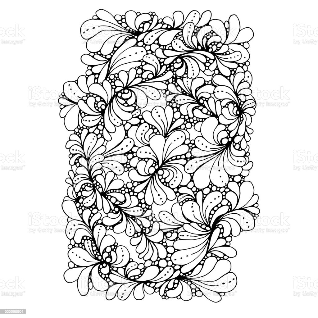 Monochrome Floral Pattern Vector. Hand Drawn Texture with Flowers. royalty-free monochrome floral pattern vector hand drawn texture with flowers stock vector art & more images of abstract